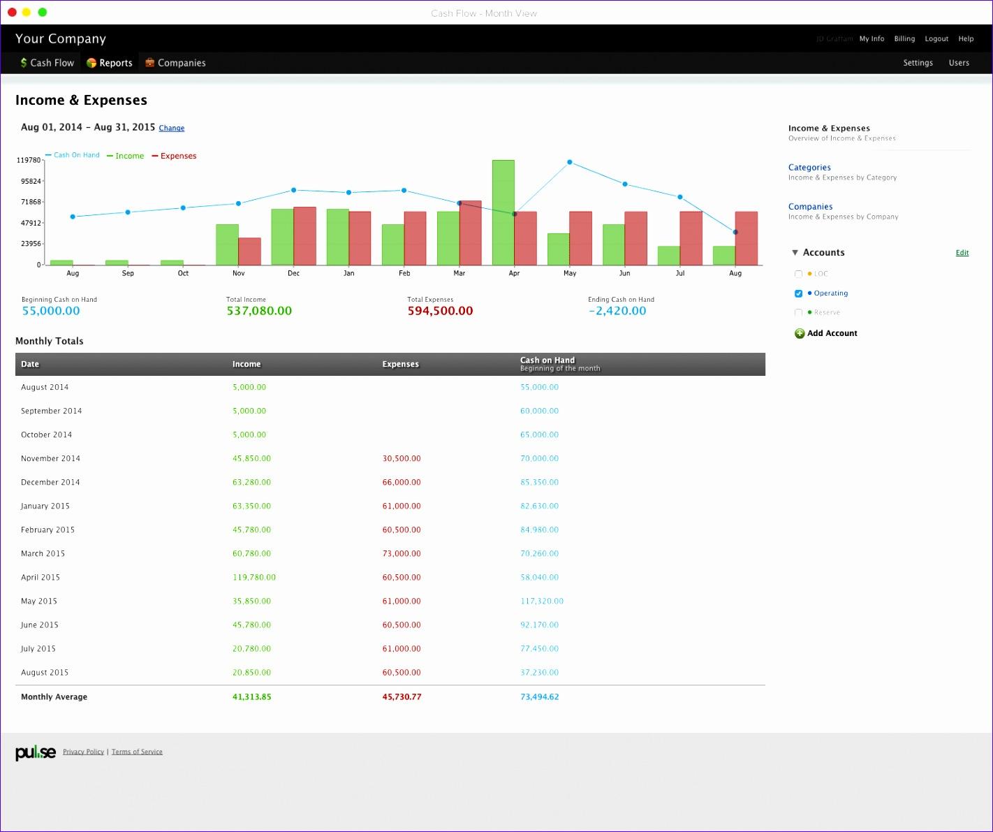 8 Cashflow Excel Template