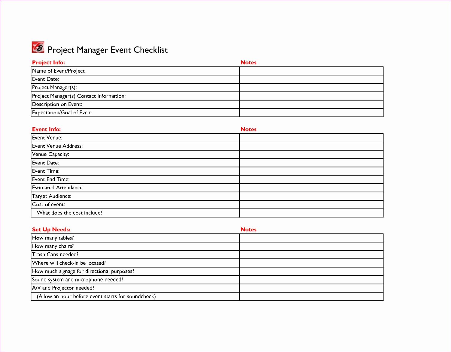 10 Event Checklist Template Excel