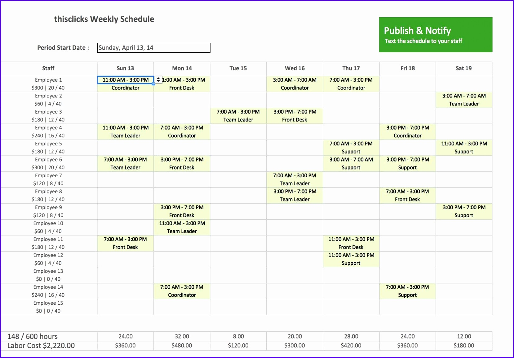 6 Timetable Excel Template