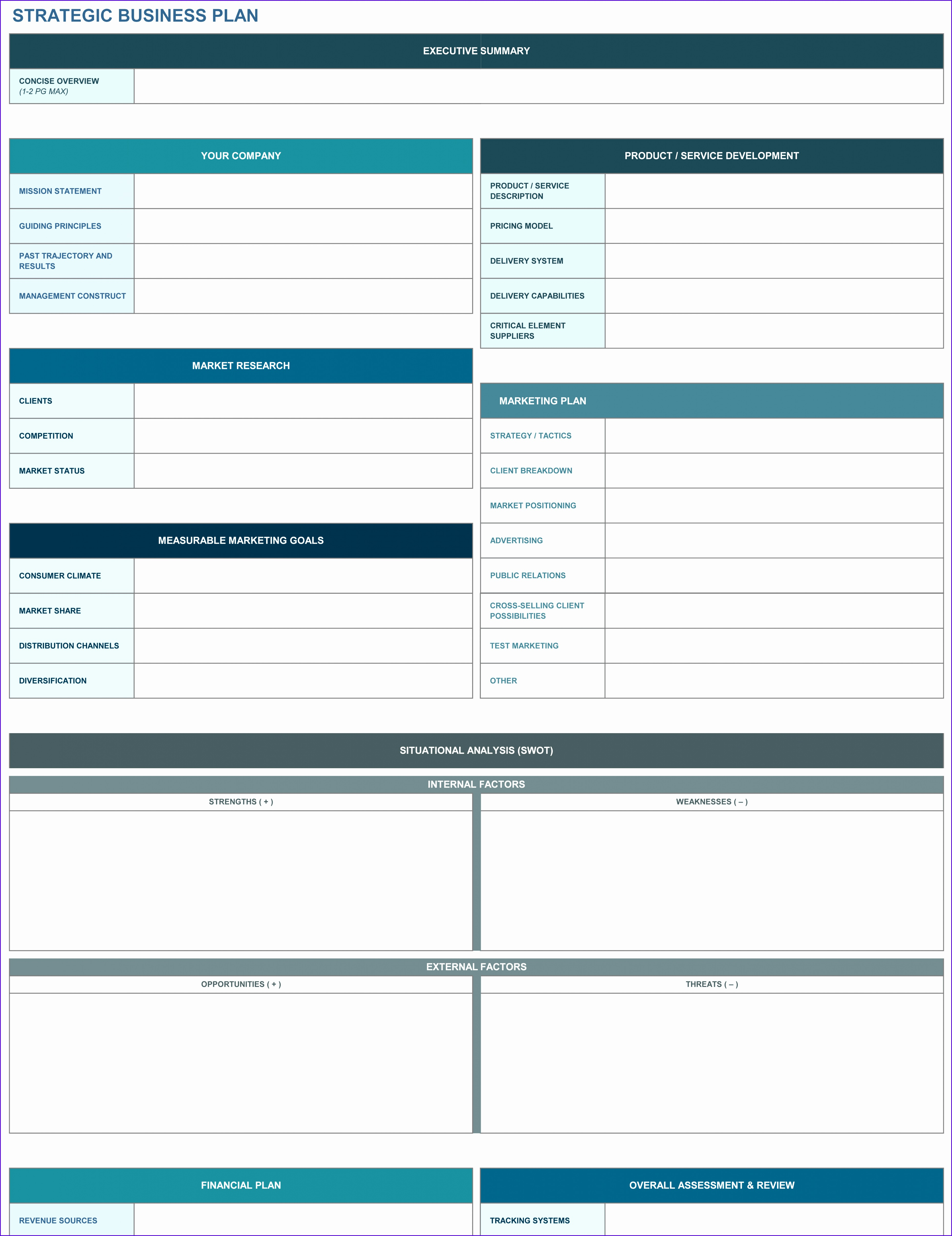 6 Business Plan Template In Excel