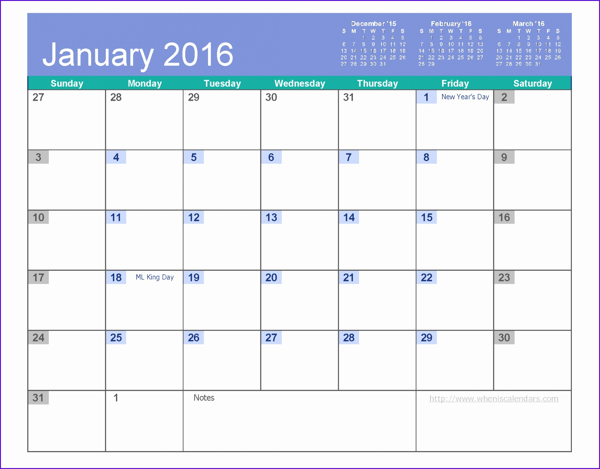 5 Excel Calendar Template