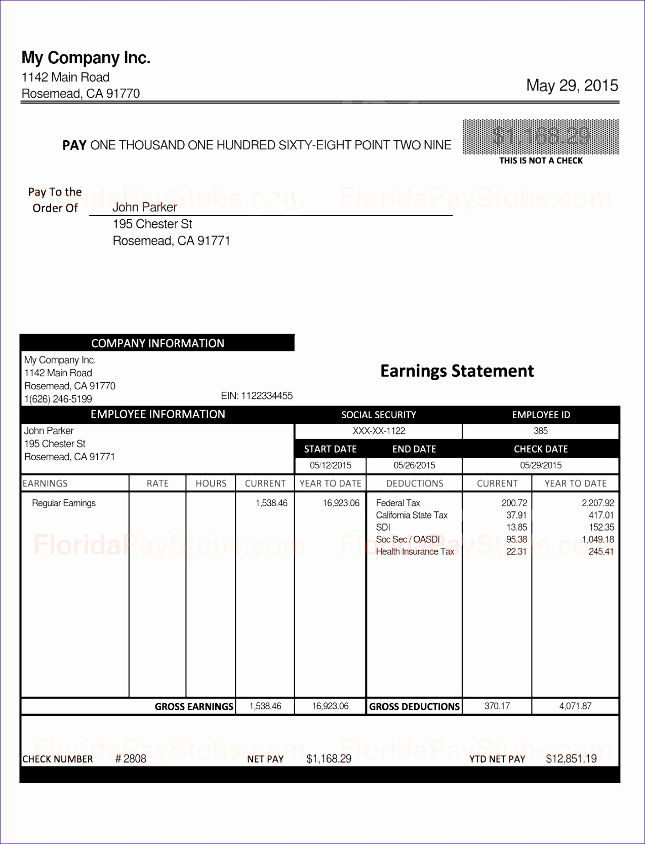 10 Excel Pay Stub Template