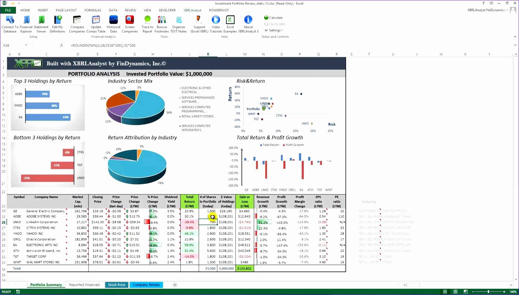 8 Excel Stock Portfolio Template