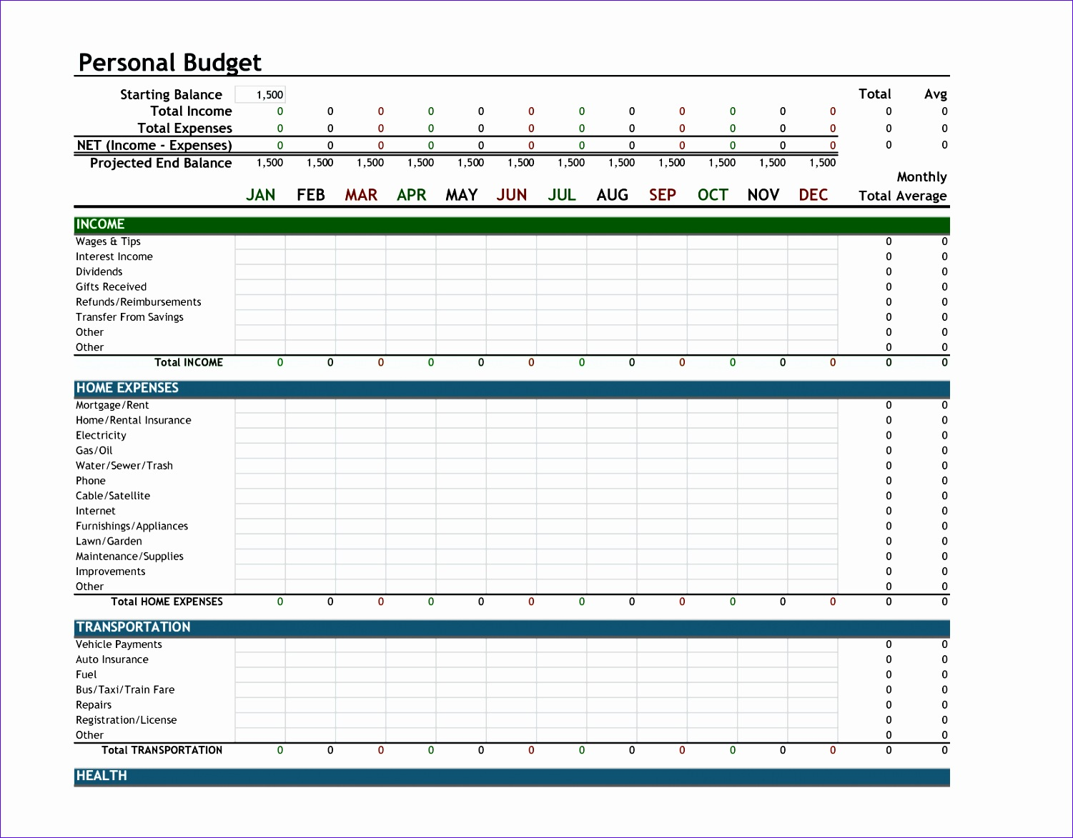 8 Excel Template Monthly Budget