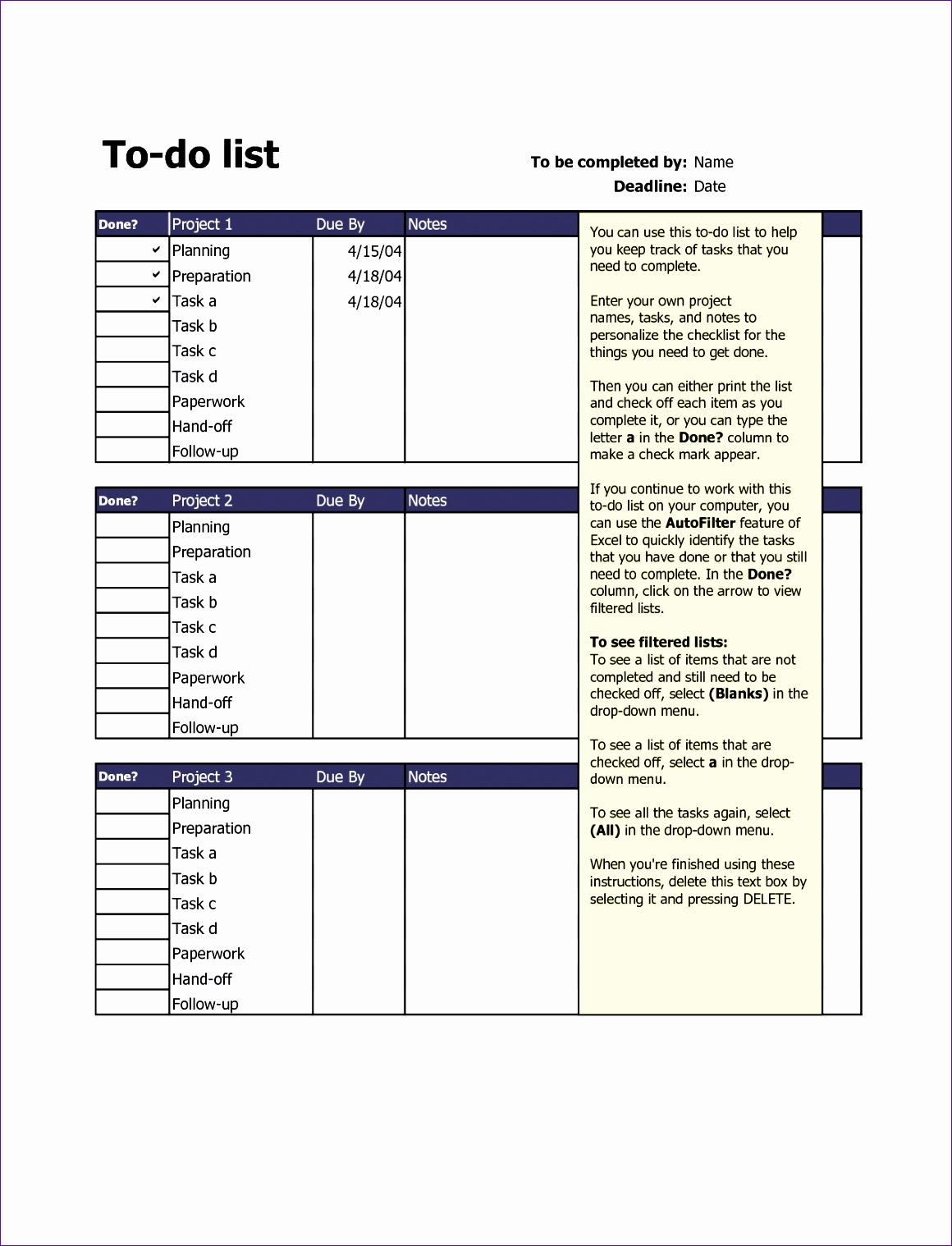 7 Excel Template Task List