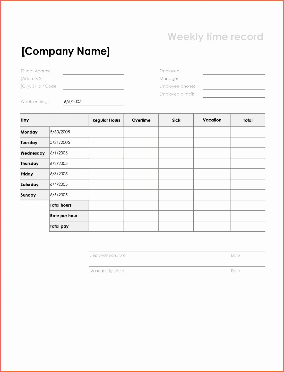 11 Excel Weekly Timesheet Template