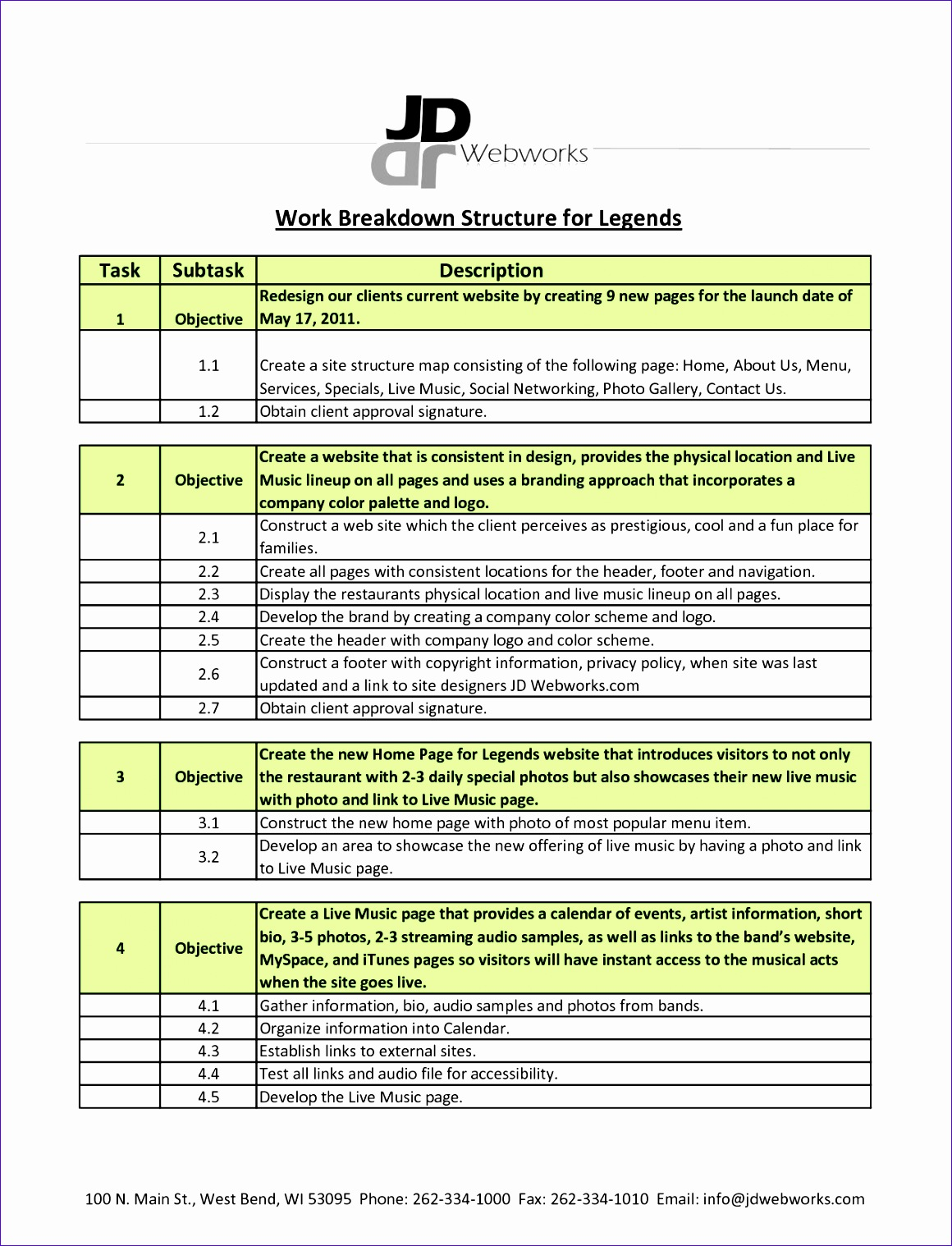 9 Excel Work Breakdown Structure Template