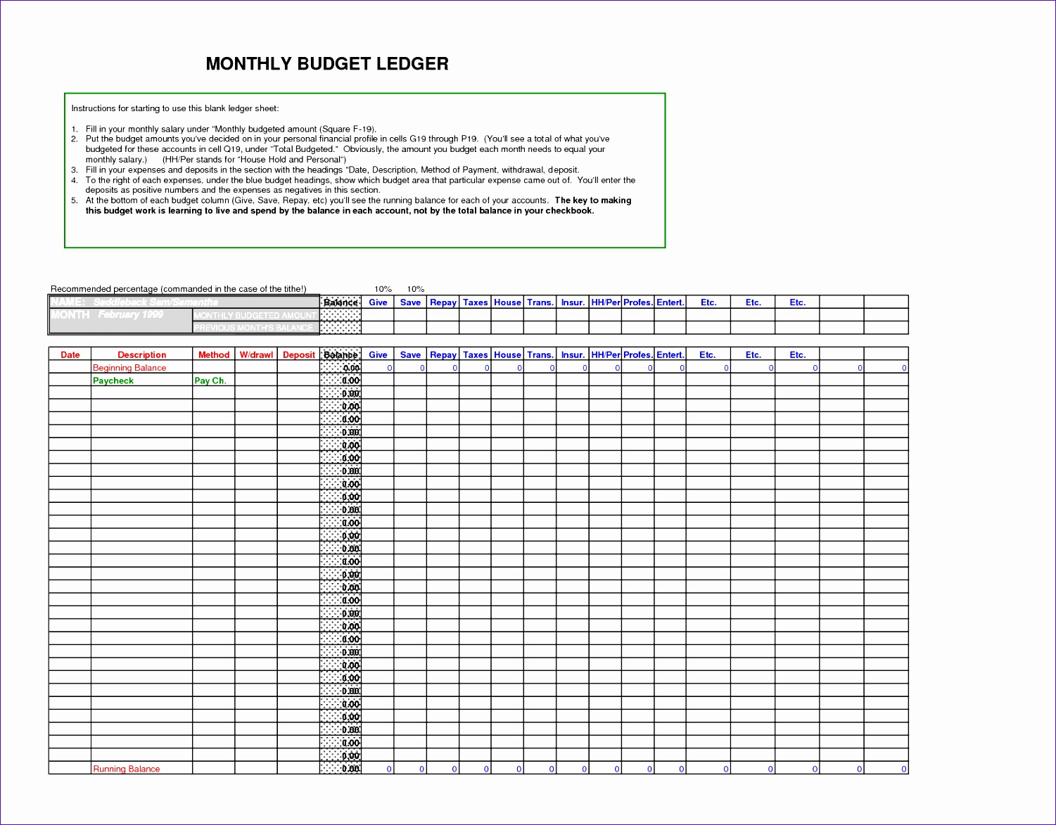 8 Ledger Excel Template