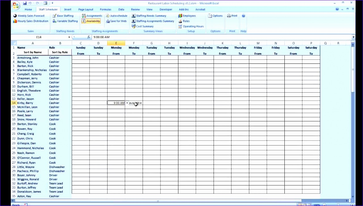 availability schedule template excel