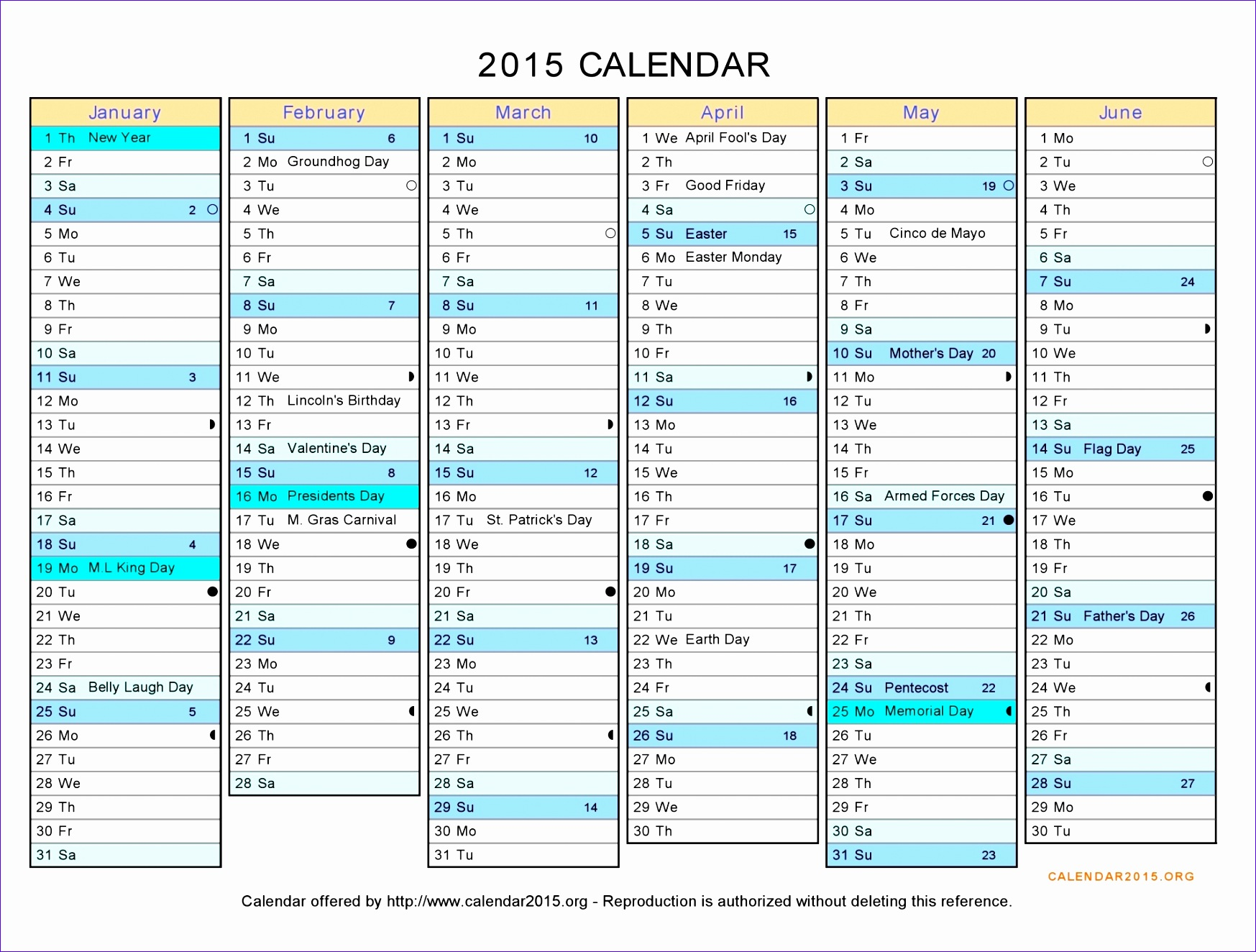 12 Monthly Calendar Excel Template