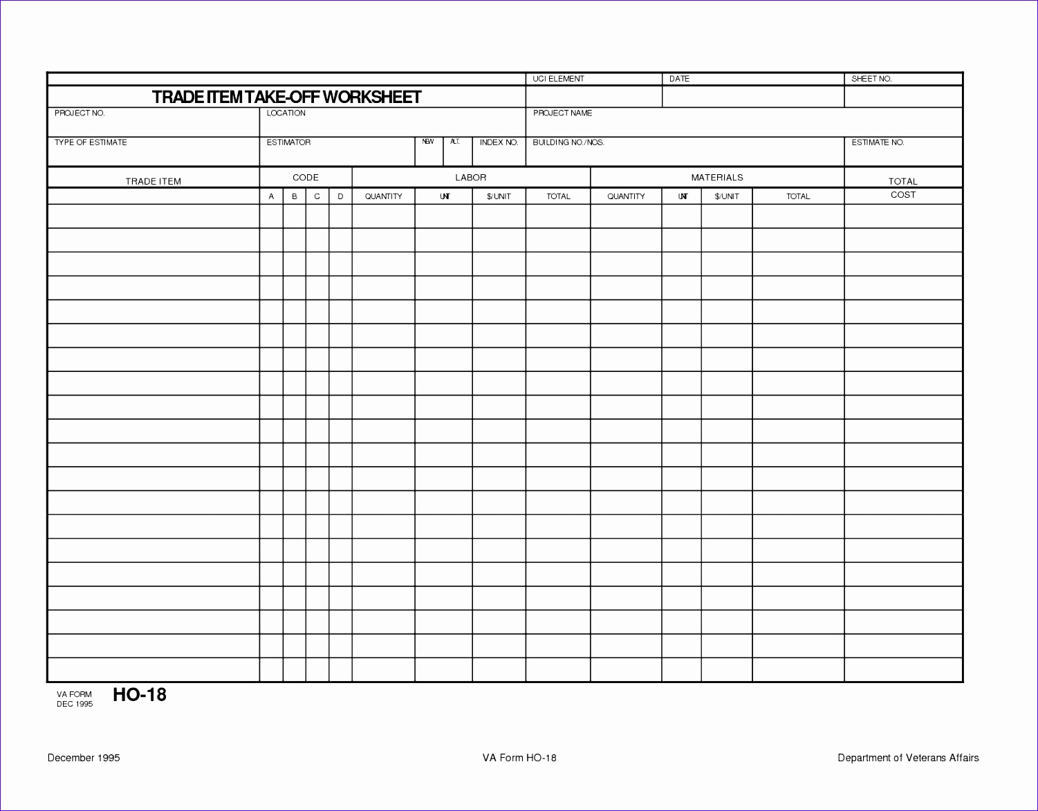 7 Project Estimation Template Excel