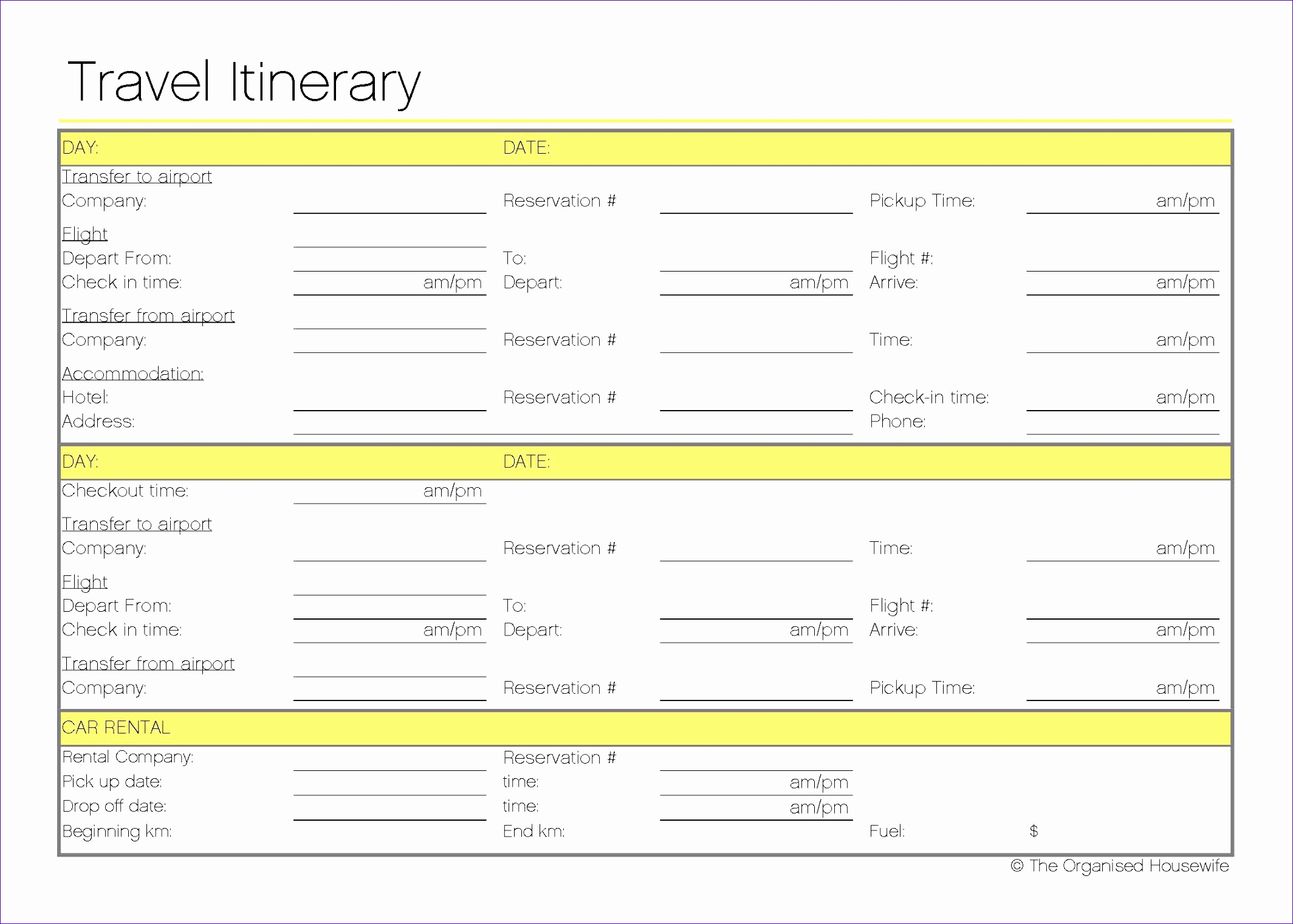 12 Travel Itinerary Template Excel