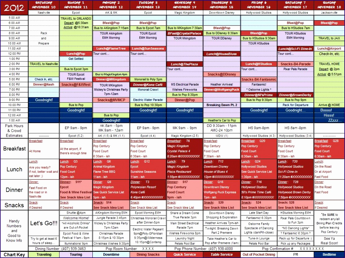 12 Trip Itinerary Template Excel