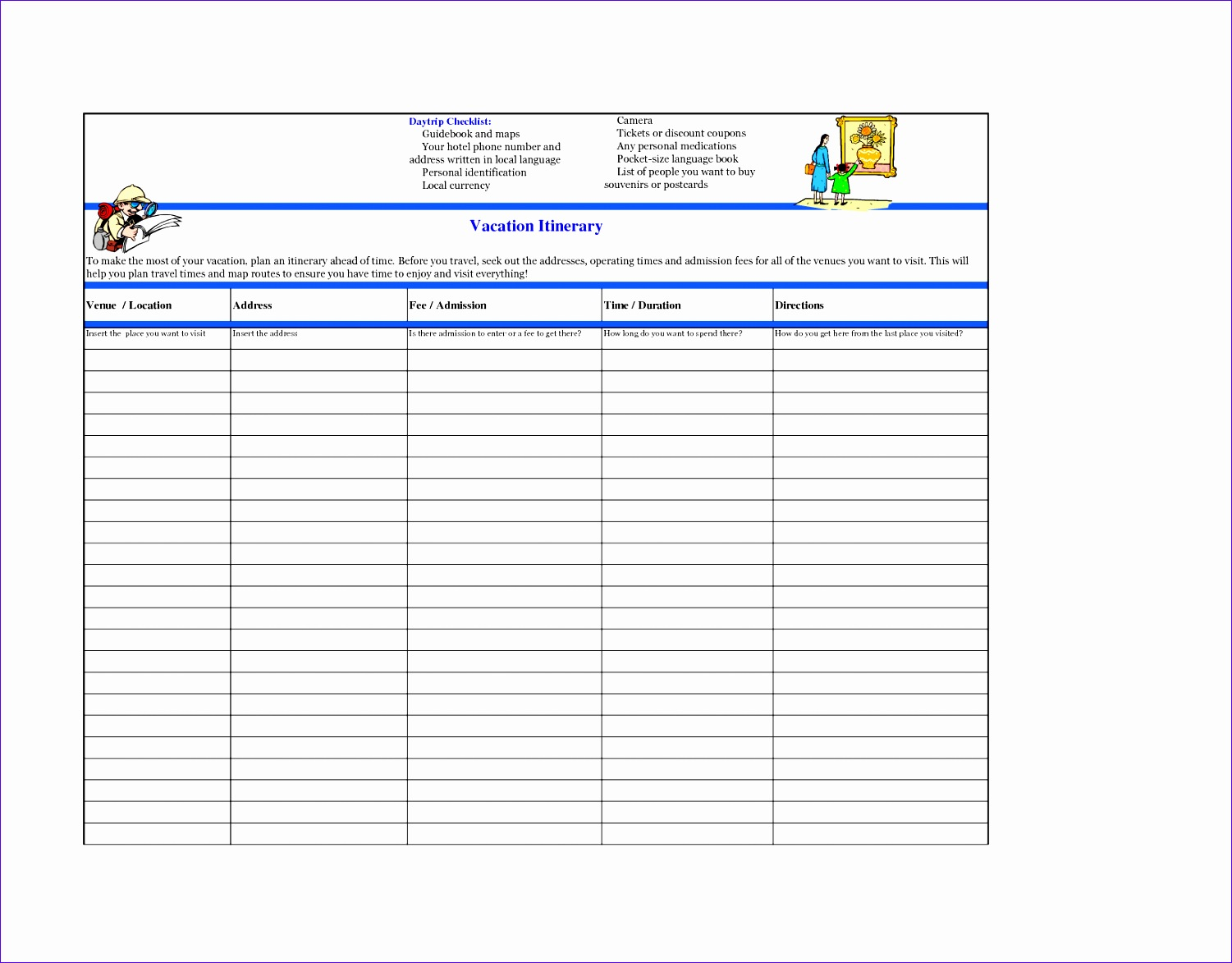 10 Vacation Plan Template Excel