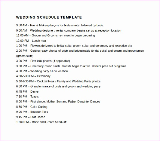 Wedding Day Schedule Template Excel Choice Image Template Design