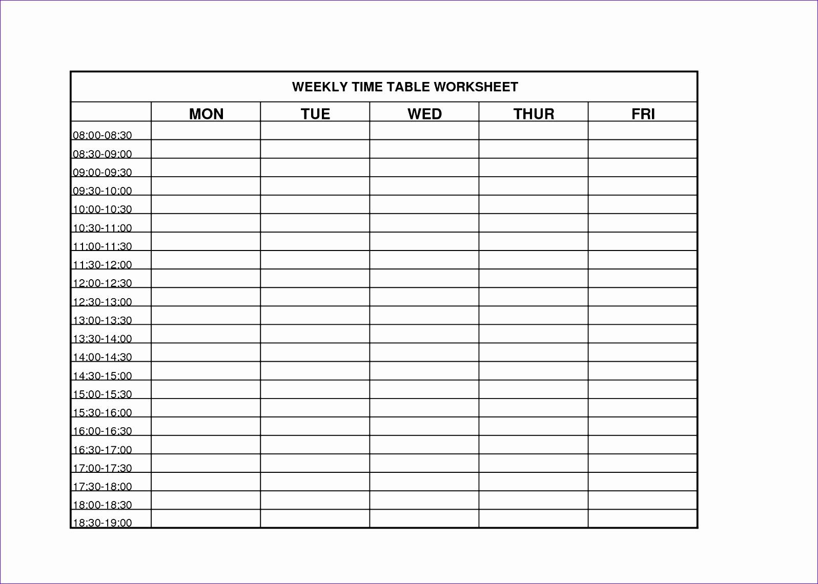 12 Weekly Timesheet Template Excel
