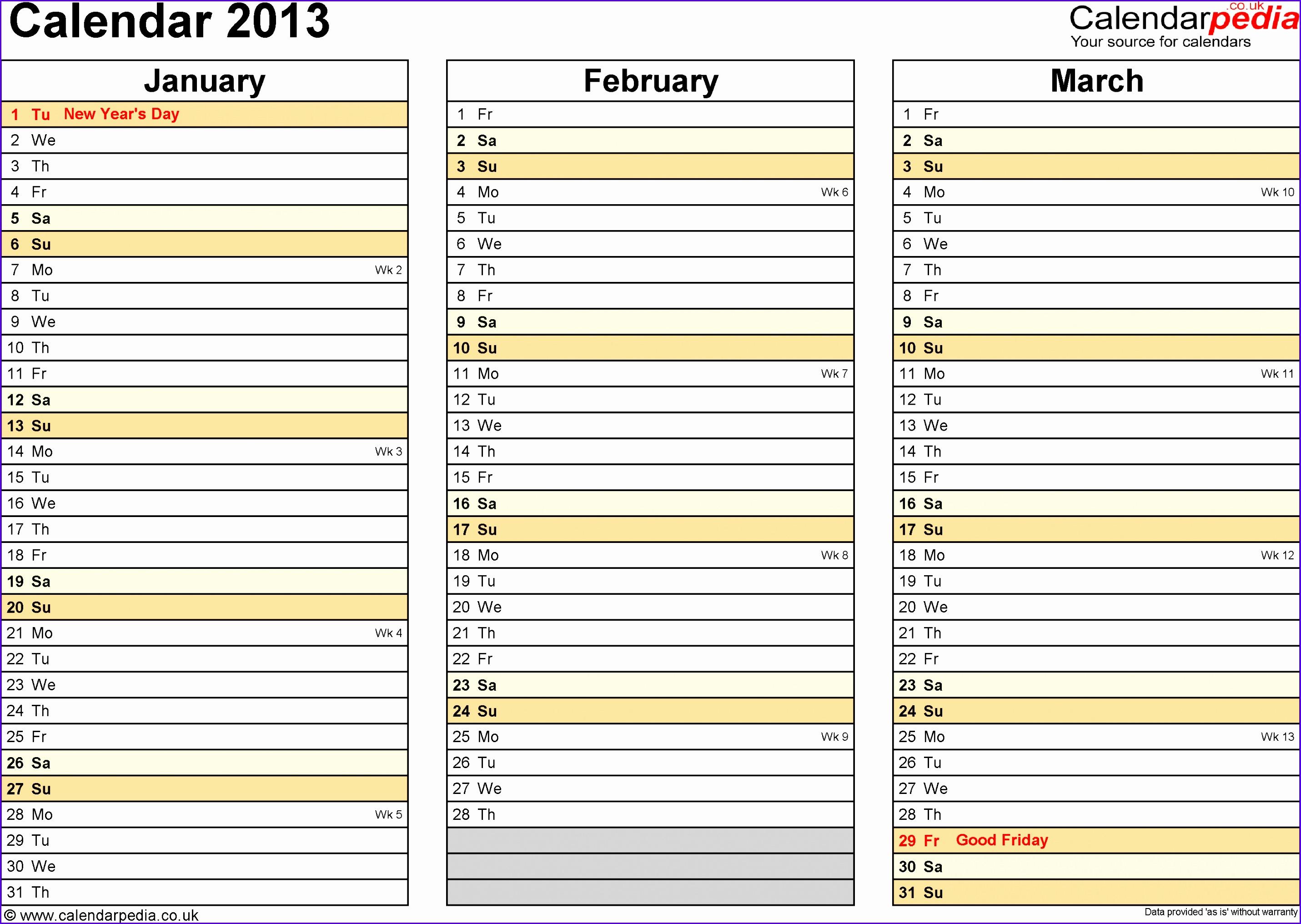 14 Quarterly Calendar Template Excel