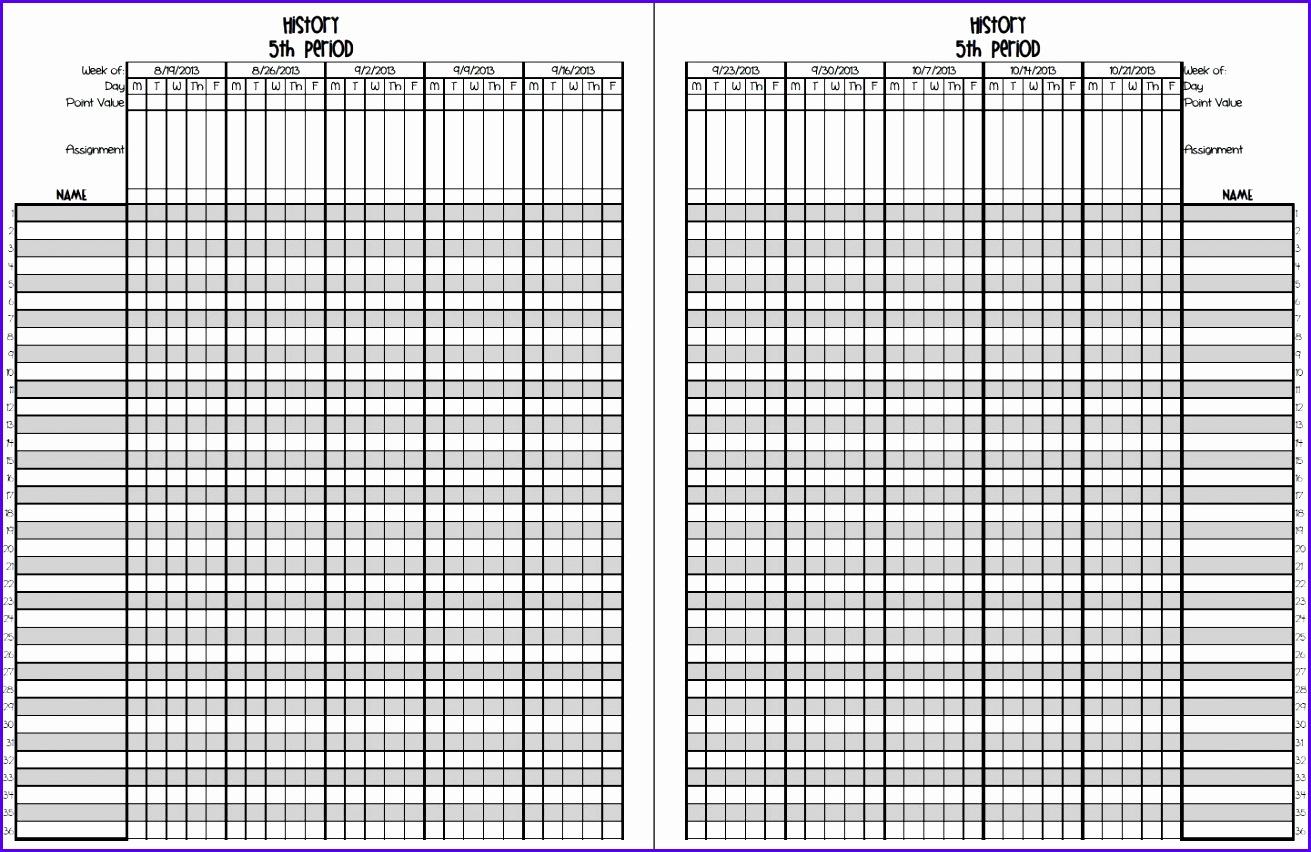 8 Grade Book Excel Template