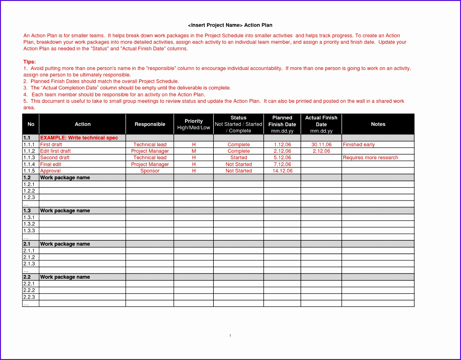 12 Work Plan Template Excel Free