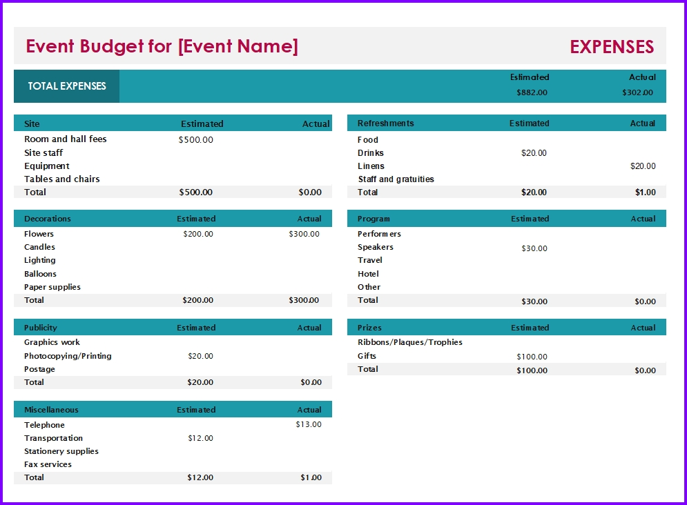 Event Budget Template | Excel Templates | Excel Spreadsheets