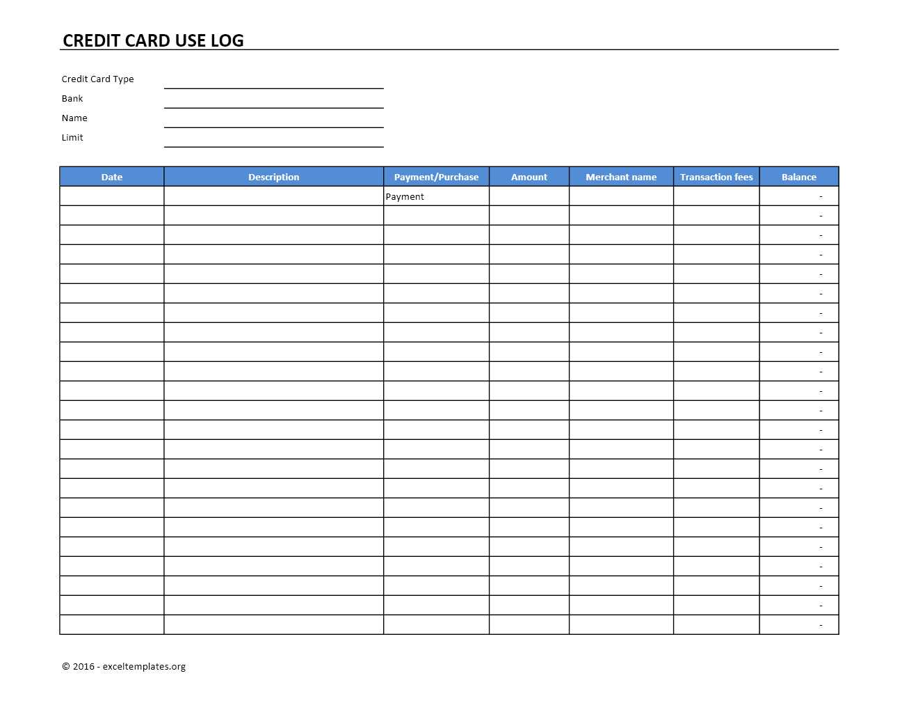 Credit Card Use Log Template Exceltemplates