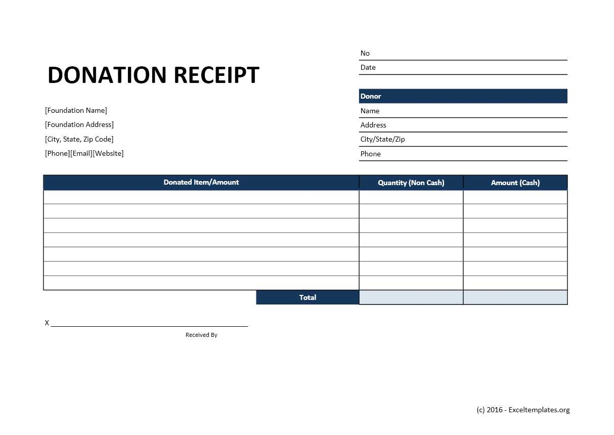 Donation Receipt Template Exceltemplates