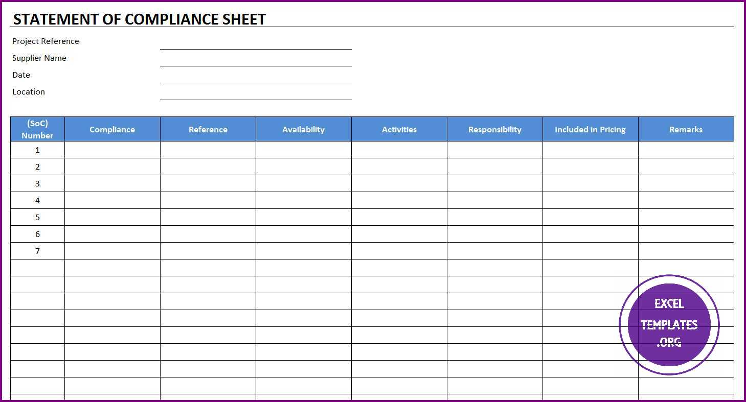 Statement Of Compliance Template