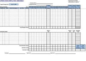Operations Employee Timecard Template