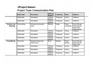 project team communication plan template excel templates