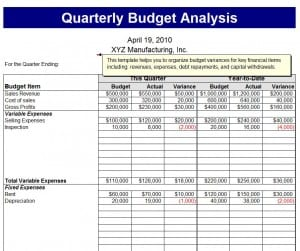 Quarterly Budget Analysis Template - Excel Templates