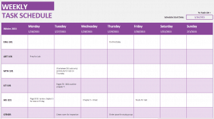 student weekly schedule template