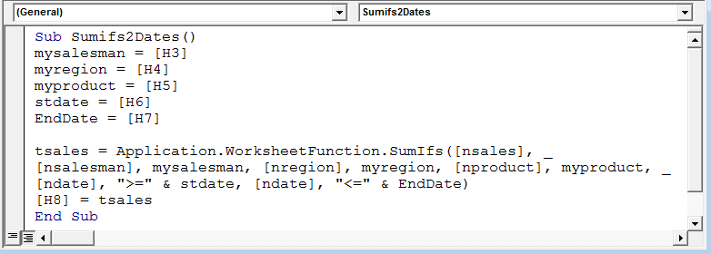 Sumif Function With Multiple Criteria Using Vba In