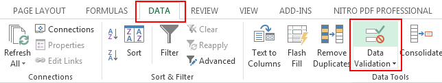 Data Validation Option in Excel