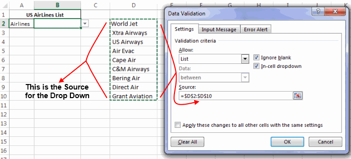 Dropdown list with a table as source