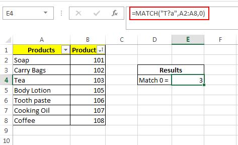 Match Formula with wildcard operators