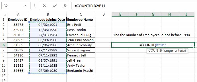 Using Countif 01