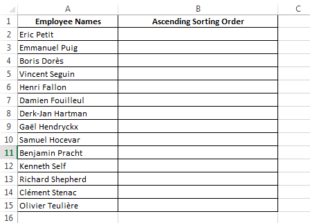 Use Countif to find the Sorting order of a list
