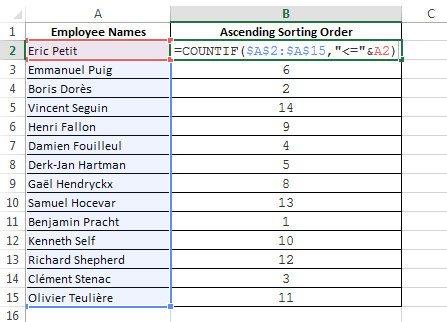 Use Countif to find the Sorting order of a list 02