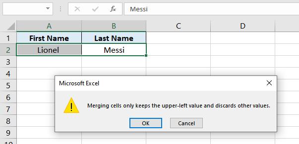 Merging Vs Concatenate in Excel