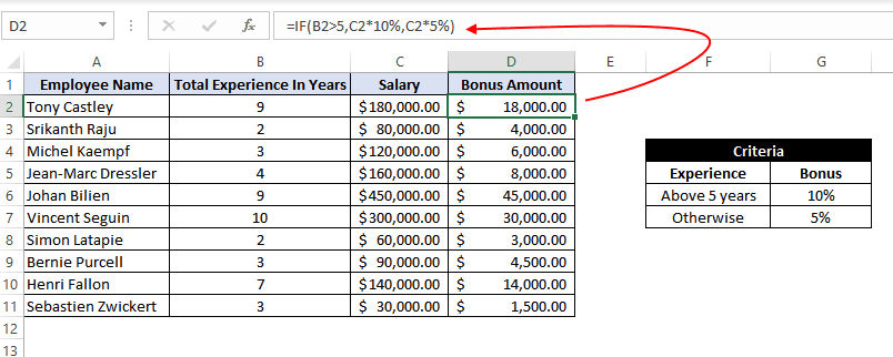 Excel IF function to return another formula a result