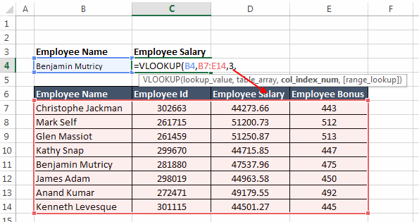 Vertical Lookup how to use table 04