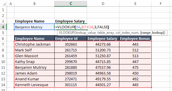 Vertical Lookup how to use table 05