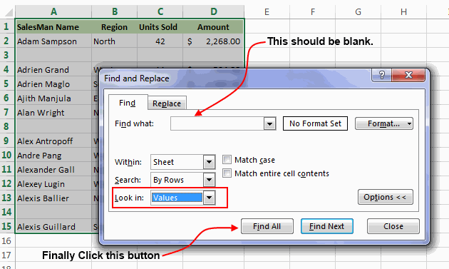 Find and Replace Dialog in Excel