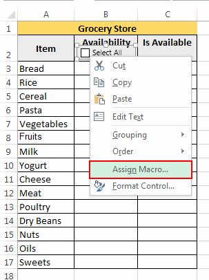 Assign Macro to Checkbox