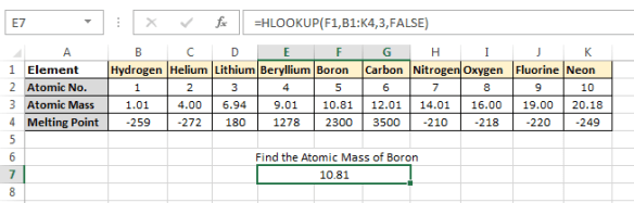 H_LOOKUP Example 4