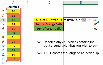 Excel Tips Sum Using Cell Color