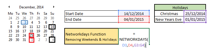 NETWORKDAYS FORMULA WITH START DATE, END DATE and HOLIDAYS