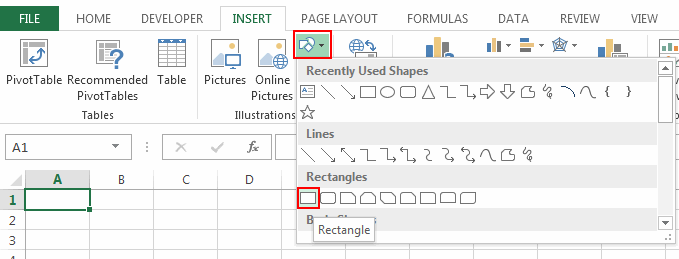 Add Rectangular Shape to your Spreadsheet