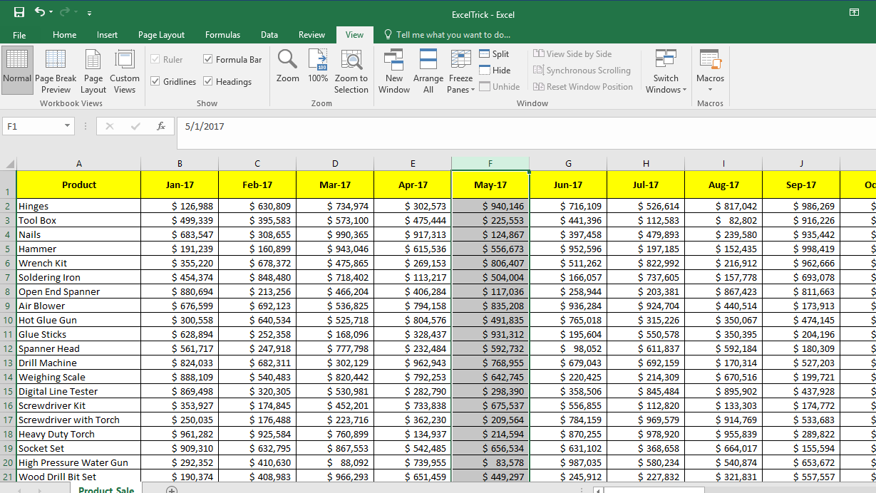 Example for Freeze Panes - Multiple Columns