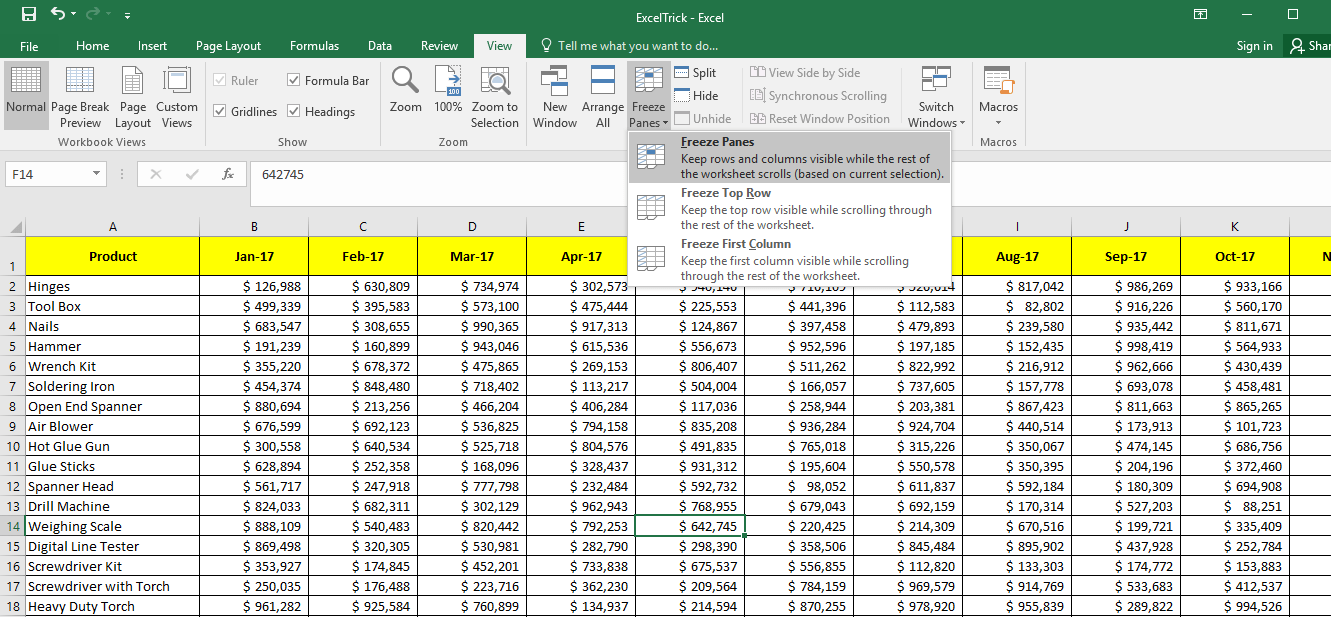 Option to Freeze Panes - Multiple Rows and Columns both